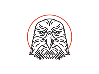 Hawk icon bird eagle hawk stroke face animal wip