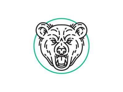Bear icon bear stroke face animal wip
