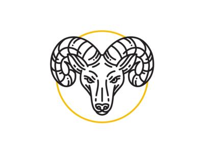 Ram icon ram stroke face animal wip