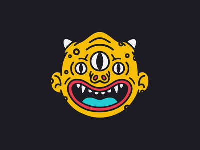 The Creature weird monster kaiju illustration face eyes creature character