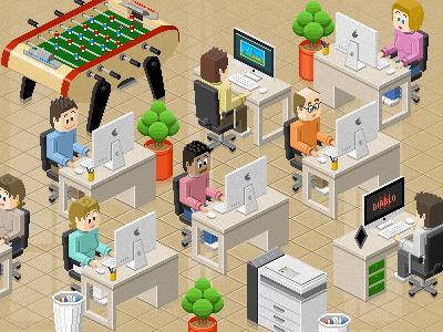 Web design office pixels iso illustration pixel art