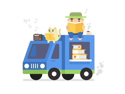 Tiny Book Van, game book van mini tiny cat radio truck game