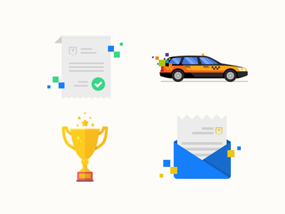 Flat icon set flat icon set car taxi cup gold mail letter bill list paper