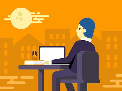 Work at night flat moon night workplace man laptop city illustration