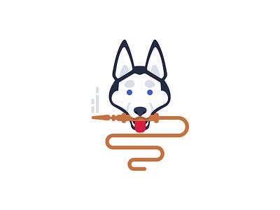Hookatiko, logo hookah hatiko logo dog husky smoke