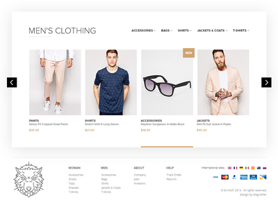 Ex-Wolf, Clothing store, slider fasion sell shop web market slider clothing wolf