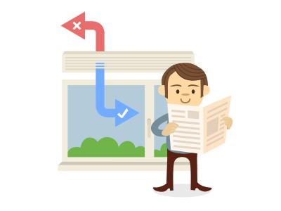 Conditioner conditioner illustration man read newspaper window