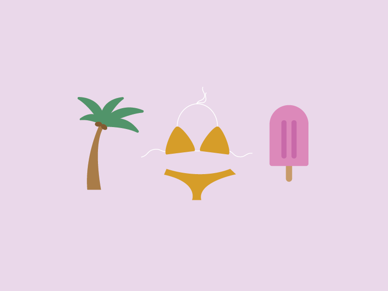 heading to the beach! trip weekend popsicle bikini tree palm icons beach