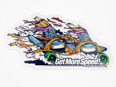 Get More Speed Sticker sticker thrash illustration