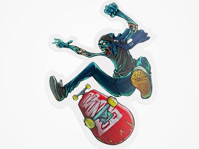 Zombie Flip Sticker sticker thrash illustration zombie skate