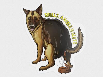 The pooping dog sticker sticker
