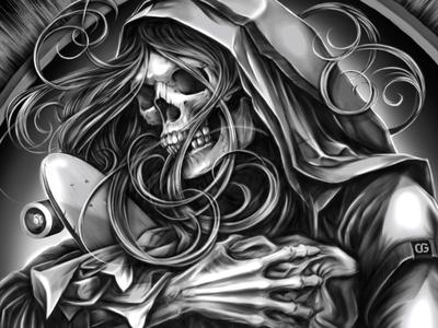 Born To Destroy illustration t-shirt style airbrush skateboard skate skull