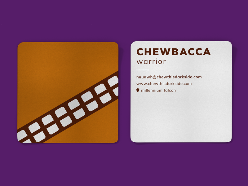 Chewbacca Business Card stationery corporate style cards vector illustration square card brand identity branding business card chewie star wars chewbacca