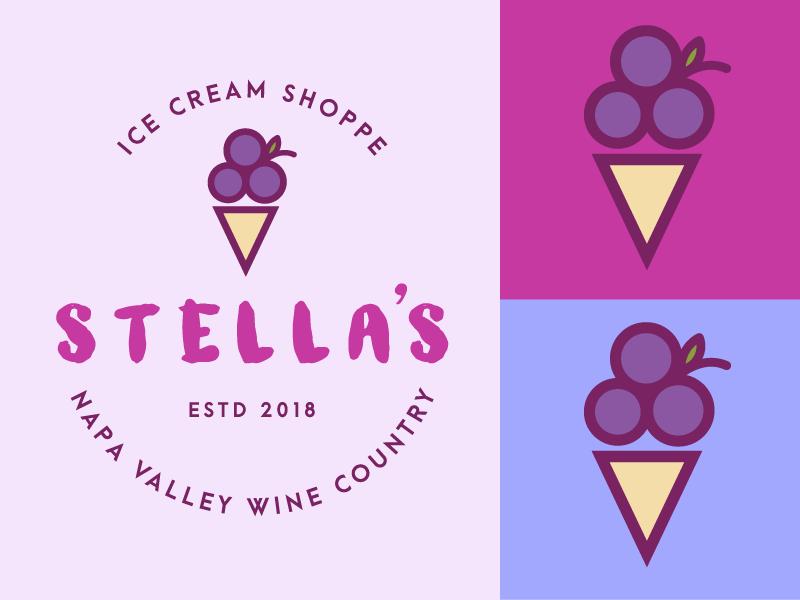 Stella's Ice Cream Logo branding illustration illustrator icon dessert minimalist wine country grapes vector graphic art logo ice cream