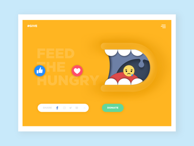 Daily UI :: 010 - Share Button dailyui feed give like color yellow website button share