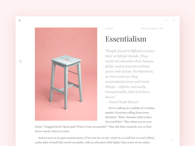 Daily UI :: 035 - Blog Post pink blog layout typography type white minimal essentialism minimalism