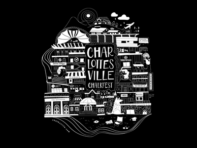 Charlottesville Chalkfest graphic tshirt poster event art black white chalk city illustration city scape charlottesville