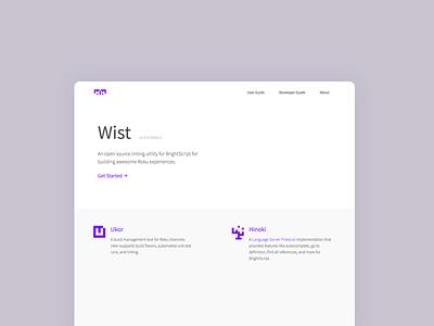 Wist // Ukor // Hinoki code documentation web design minimal design website developer tool open source