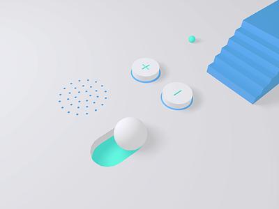 UI Components Scene illustration toggle button design components toggle scene 3d c4d white ui minimal