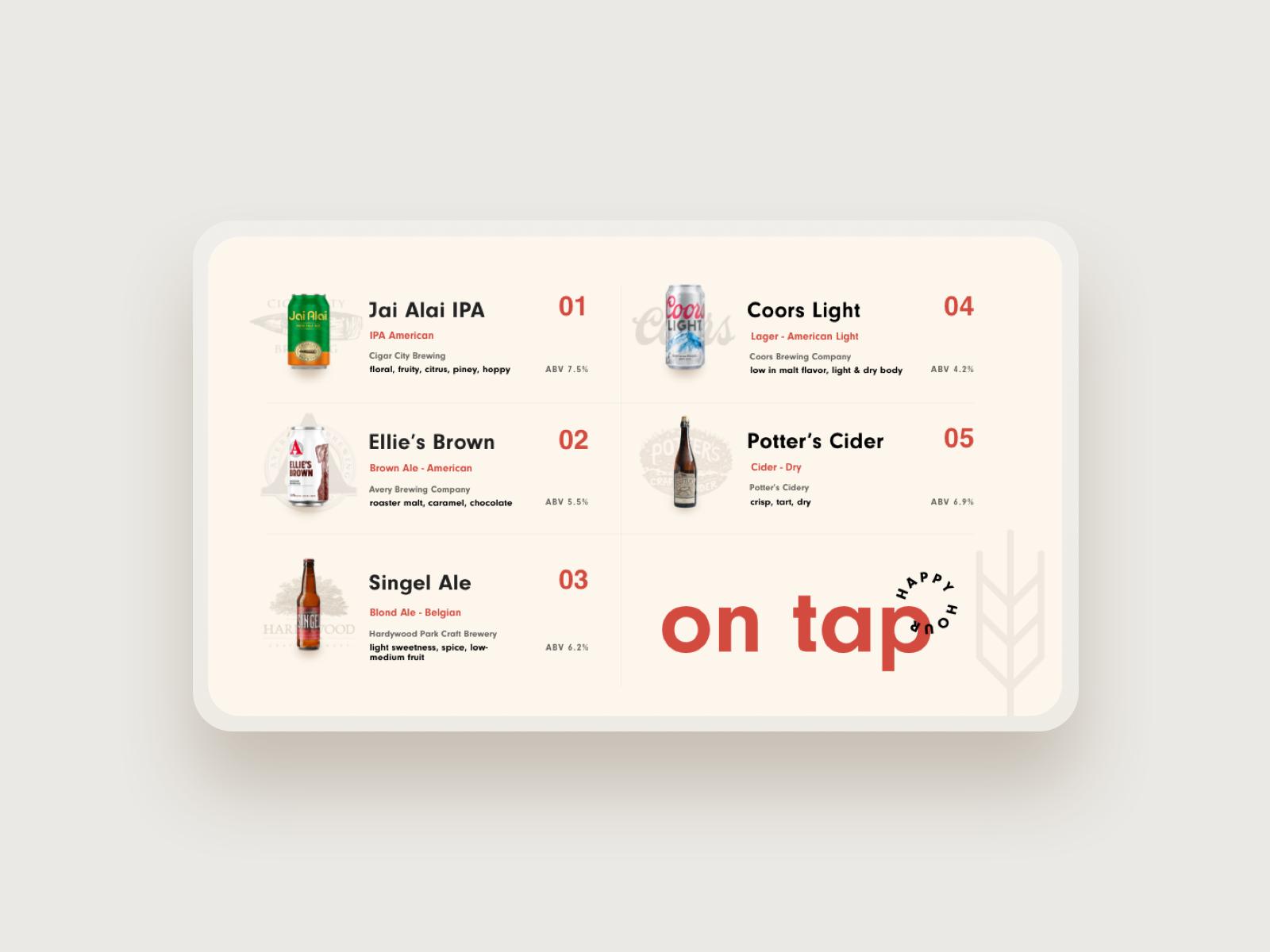 Beer menu mockup