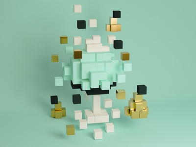 and a pixel in a pear tree 🍐✨ gold pear pixel tree teal graphic print holiday card holiday design 3d art blender 3d