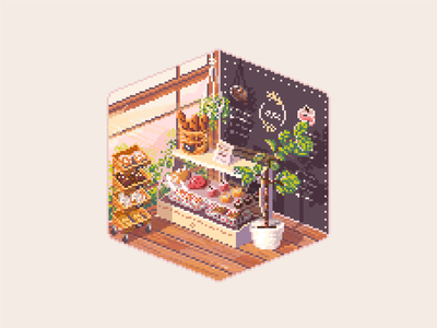 Early morning in the bakery pixel art game art interior illustration animation pixel graphic isometric art isometric