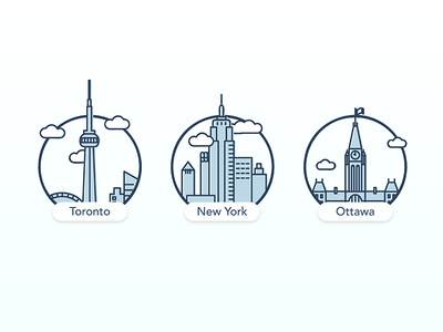 City Illustrations buildings graphic line icon illustration ottawa york new toronto to cities city