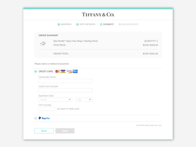 Daily UI 002: Credit Card payment card credit progress ui daily page website jewelry tiffany