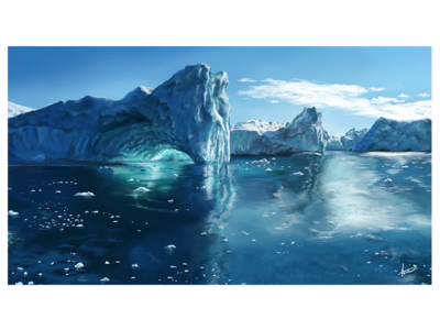 Icebergs in a Digital Painting ice clouds realistic realism ocean water tablet digital landscape arctic iceberg painting