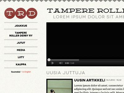 TRD website roller derby layout website design texture