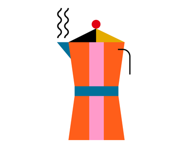 Moka Pot color design vector illustration