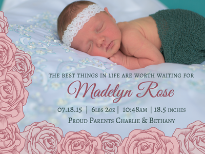 Birth Announcement Adoption Card Design