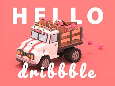 Howdy Dribbble! 3d lowpoly debut truck dribbble hello