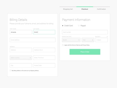 Billing and Payment Information credit card payment payment form payment method payments payment address ecommerce check out experience check out ui registration form minimal design