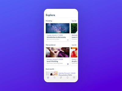 Event App application app design explore trending event app app flat minimal design ui