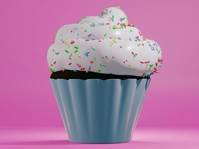 Cupcake blender illustration 3d