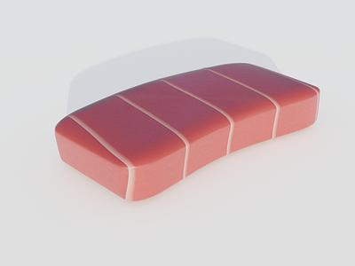 Tuna sushi food blender illustration 3d