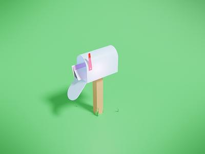 Mailbox low poly blender illustration 3d