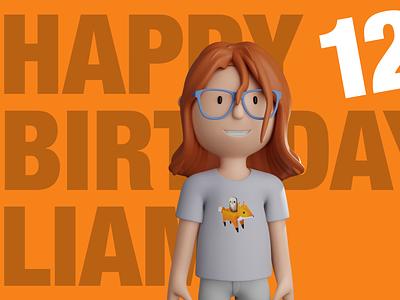 Happy Birthday Liam character blender illustration 3d