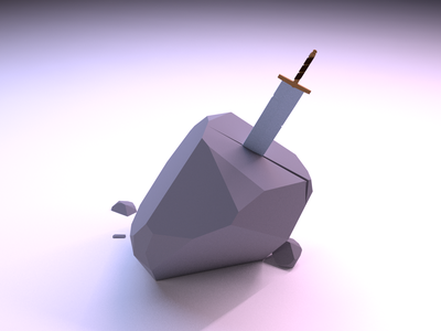 Sword In The Stone blender low poly illustration 3d