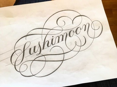 Sushimoon sketch flourishes script lettering
