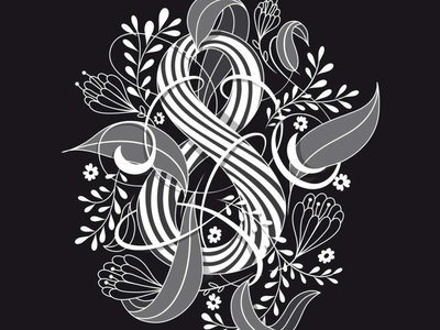 Eight illustration flourishes lettering