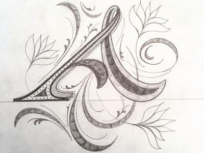 A illustration flourishes script lettering