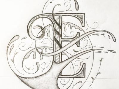 E illustration flourishes lettering