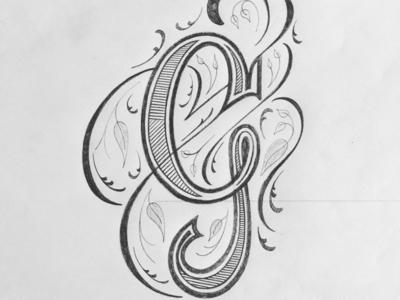 G illustration flourishes script lettering