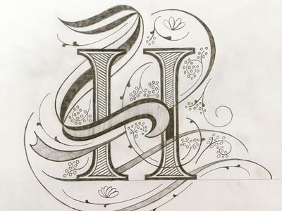 H illustration flourishes lettering