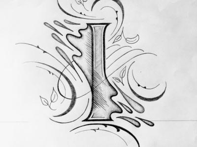 I illustration flourishes lettering
