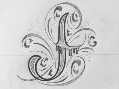 J illustration flourishes lettering