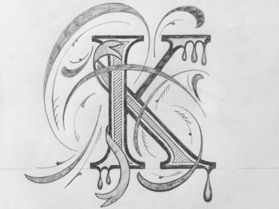 K illustration flourishes lettering