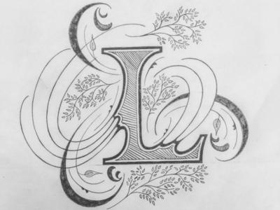 L illustration flourishes lettering